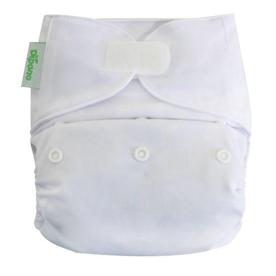Capa de Fralda Ecológica de Pano em Velcro Branca