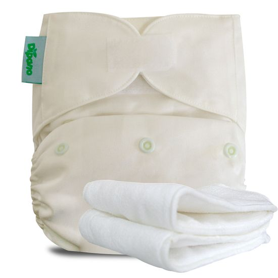 Fralda Ecológica de Pano Diurna em Velcro Vanilla Nude
